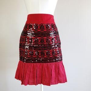 Anthropologie  sequin skirt red and black skirt